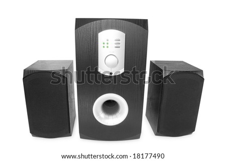 three speaker isolated on white - stock photo