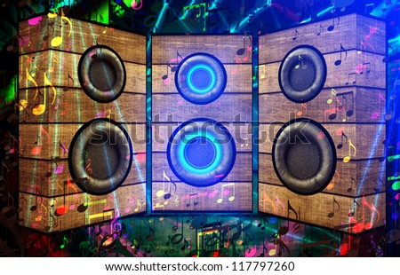 Three Speakers in Ultra Violet Light - stock photo