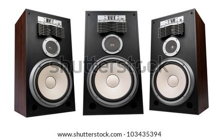 three speakers on white background - stock photo