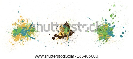 three splashes in yellow green blue and brown colors - stock photo