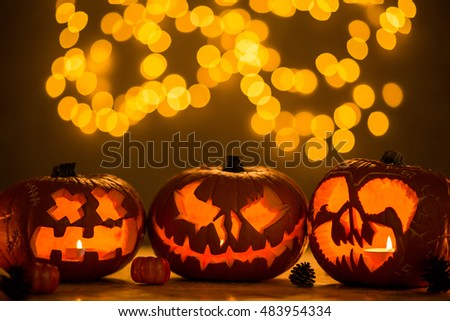 Three spooky jack-o'-lanterns made for halloween