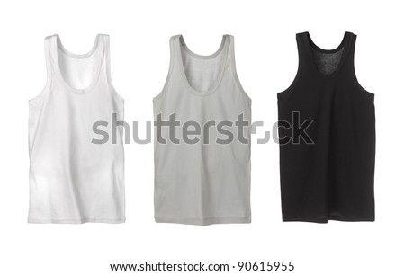 Three sport tank tops. White, grey and black. - stock photo