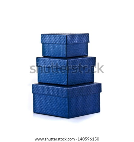 Three stack of blue gift box on the white background - stock photo