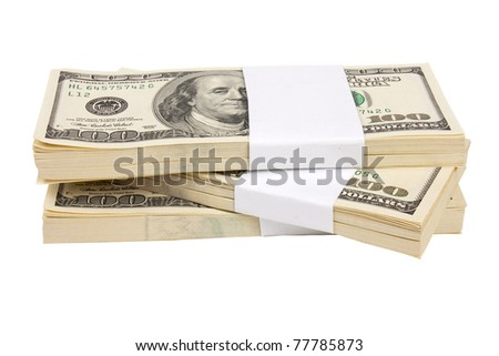 Three stacks of $100 bills isolated on white background
