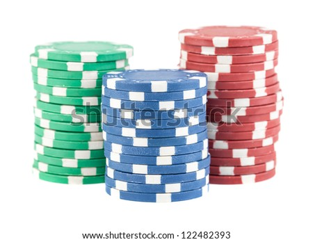 Three stacks of casino chips isolated on white background