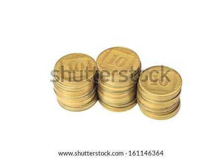Three stacks of coins Israeli isolated on white background - stock photo