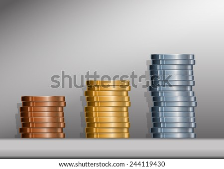 Three stacks of coins with background.