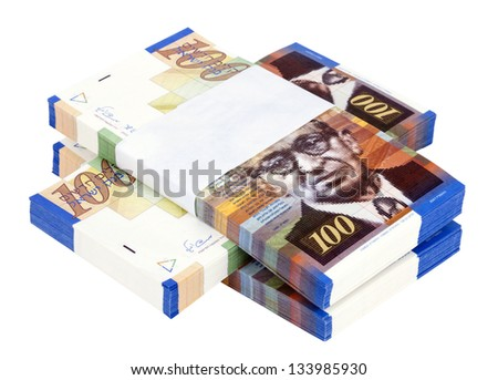 Three stacks of 100 NIS (New Israeli Shekel) money notes on top of each other, isolated on white background. - stock photo