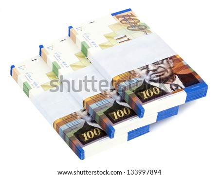 Three stacks of 100 NIS (New Israeli Shekel) money notes on top of eachother, spread like a staircase. Shot diagonally, isolated on white background. - stock photo