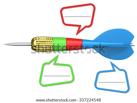Three Stage Rocket Dart Dart arrow symbolizing three stage rocket. Blank Dialog boxes for Copy Space. - stock photo