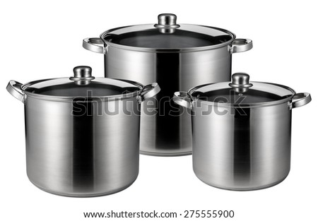 Three stainless steel pots. Isolated on white background - stock photo