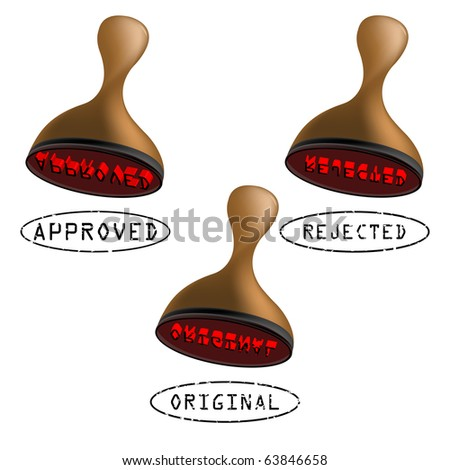 three stamps collection, approved, rejected and original. abstract art illustration; for vector format please visit my gallery - stock photo