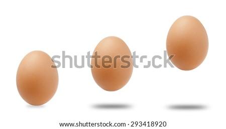 Three step Eggs on white background. - stock photo