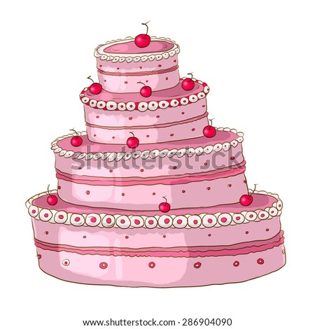 three-story pink cake with cherries on a white background