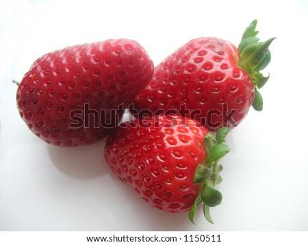 three strawberries - stock photo