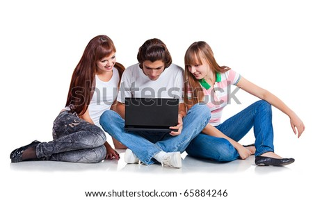 Three students  with laptop