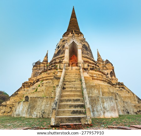 Three stupas in Wat Phra Si Sanphet. Ayutthaya historical park.  - stock photo