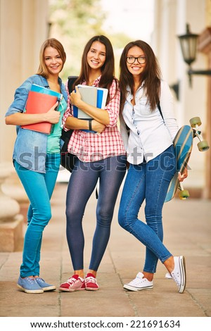 Three stylish high school girls - stock photo