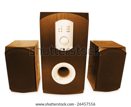 three stylish speakers isolated on white - stock photo
