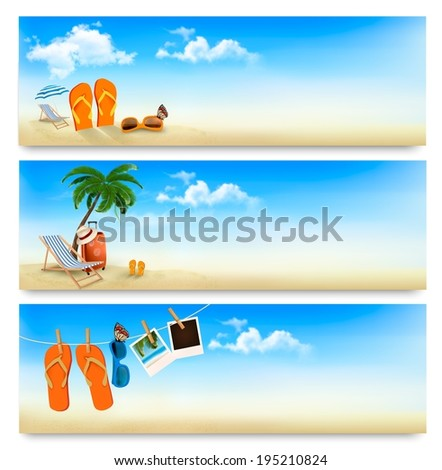 Three summer vacation banners. Raster version. - stock photo
