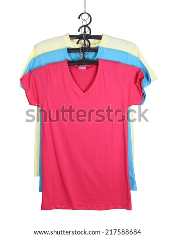 three t-shirt template on hange isolated on white background (with clipping path) - stock photo