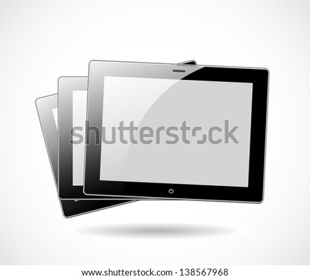 Three tablets isolated on white background