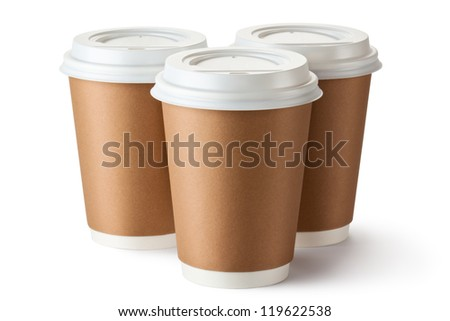 Three take-out coffee in cardboard thermo cup. Isolated on a white. - stock photo