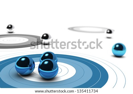 Three targets, one blue and other are grey, three balls over the first one concept of target market over white background - stock photo