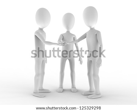 Three teammates stack hands in agreement