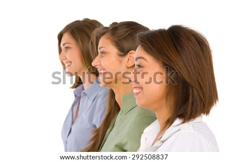 three teenage girls