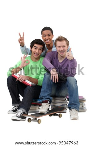 Three teenagers done studying.