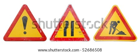 three temporary construction signs isolated on white background