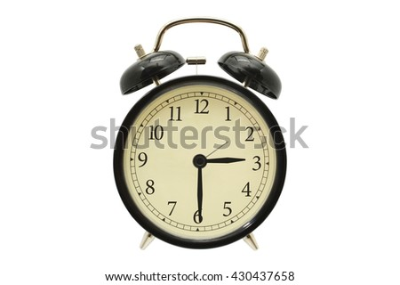 Three Thirty Black Alarm Clock isolated on white background