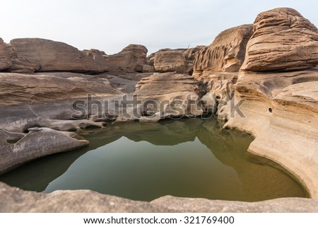 Three thousand waving the rocks beneath the Mekong river. Caused by the vortex erosion. A pool of more than 3,000 wells and is visible during the dry season the water dry up.Ubon Ratchathani,Thailand