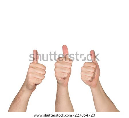Three Thumb up. Isolated on white background.