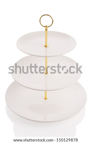 three tier serving tray isolated on white. - stock photo