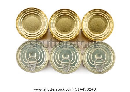 three tin cans and three tin cans with Easy Open lid top view on white background isolated - stock photo