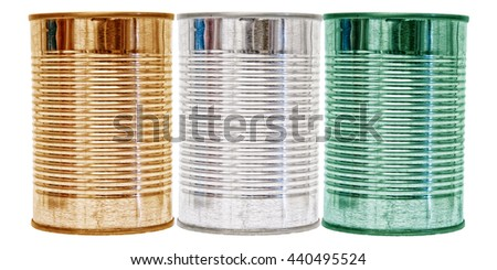 Three tin cans with the flag of Cote d'Ivoire on them isolated on a white background. - stock photo