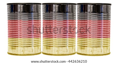 Three tin cans with the flag of Germany on them isolated on a white background.