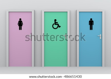 three toilet doors for women, disabled persons and men. Each one has his own pictogram. 3d illustration, 3d rendering