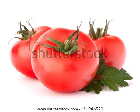 Three tomato vegetables and parsley leaves still life isolated on white background cutout - stock photo