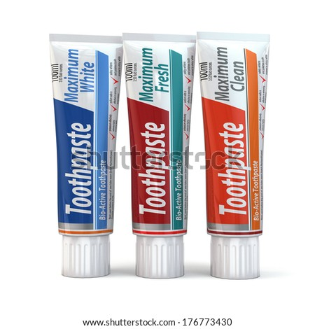 Three toothpaste containers on white isolated background. 3d - stock photo