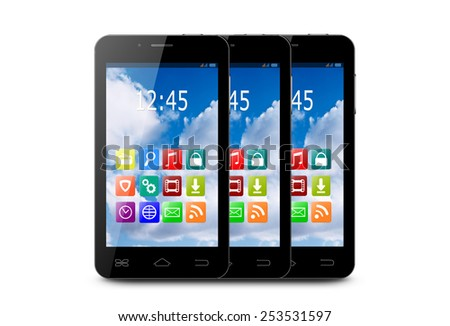 Three touchscreen smartphones with applications on screens.