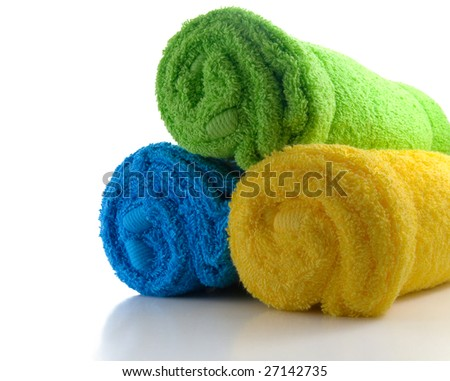 three towels isolated on white background - stock photo