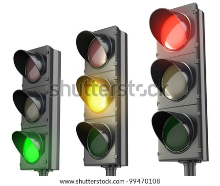Three traffic lights, red green and yellow, isolated on white background - stock photo