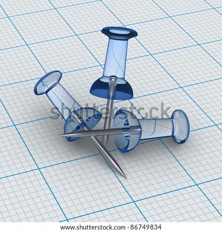 Three Transparent Thumbtacks on blue graph paper - stock photo