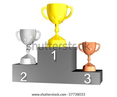 Three trophy cups on podium - stock photo