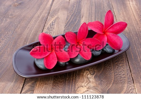 Three Tropical Plumeria Frangipani with spa stone on wooden table for spa and wellness concept - stock photo