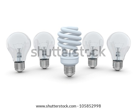 Three types of lamp bulbs on white background. 3d - stock photo