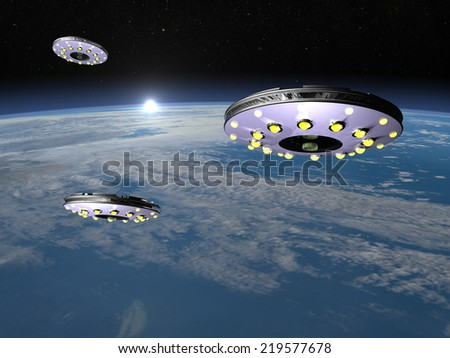 Three UFOs flying upon earth by rising sun - 3D render - stock photo